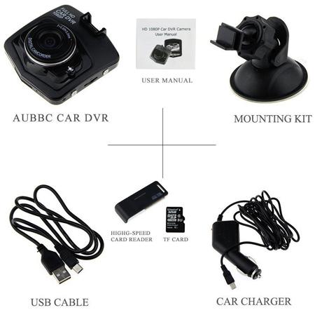 AUBBC Dashcam box contents
