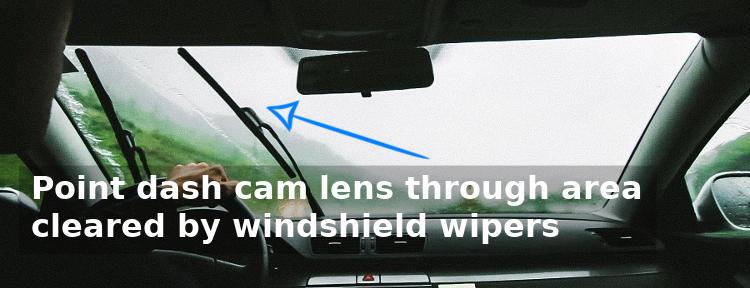 Dash cam mounted in windshield wiper area