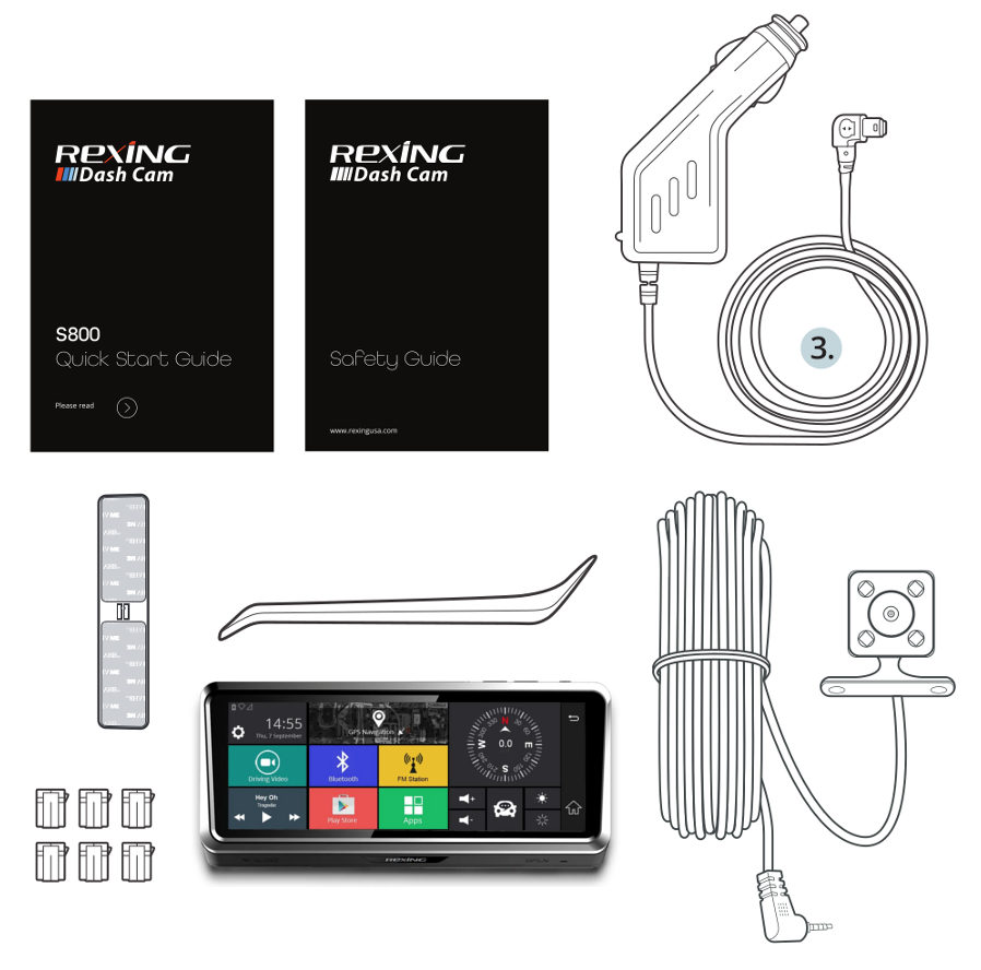 What Comes with Rexing S800 Dash Cam