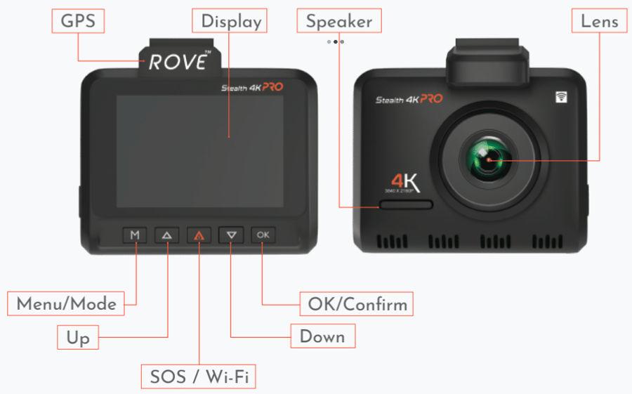 Diagram of ROVE Stealth 4K PRO Dash Cam