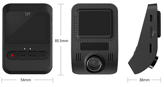 Yi Mini Dash Cam Dimensions